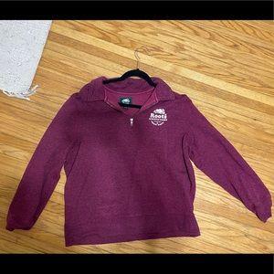 Roots sweater -burgundy quarter zip